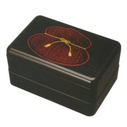 画像1: 江戸二段弁当箱 黒 ひさご