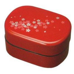 画像1: 平成二段弁当箱 レッド 桜 タッパー付