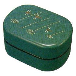 画像1: 平成二段弁当箱 グリーン とんぼ タッパー付