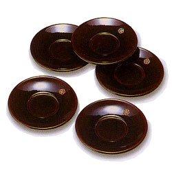 画像1: 木製 4寸 茶托 溜 香梅 ( ちゃたく ため こうばい ) 5枚セット木箱入