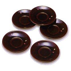 画像1: 木製 4寸 茶托 溜 桜 ( ちゃたく ため さくら ) 5枚セット木箱入