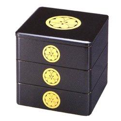 画像1: 【送料無料の漆器の通販!】6.5寸 三段重箱 黒塗り 家紋入り