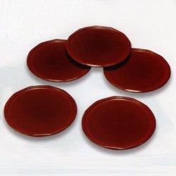 画像1: 【名入れ無料の漆器*お皿/小皿の通販】鳶色のダイヤの瞬き 総春慶塗り銘々皿(5枚組)