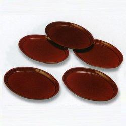 画像1: 【名入れ無料の漆器*お皿/小皿の通販】鳶色に艶やかに輝く 総春慶塗り銘々皿(5枚組)