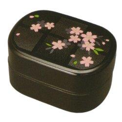 画像1: 江戸二段弁当箱 黒 やよい桜 タッパー付