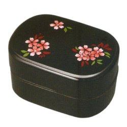 画像1: 小判二段弁当箱 スワロフスキー桜 タッパー付