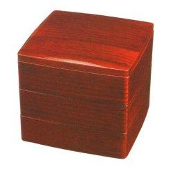 画像1: 【送料無料】【名入れ無料の漆器の通販】6.5寸 三段胴張重箱 赤杢目
