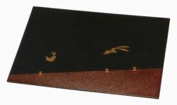 画像1: 【名入れ無料の漆器 お盆/トレイの通販】木製 長角膳トレイ うさぎ 14寸