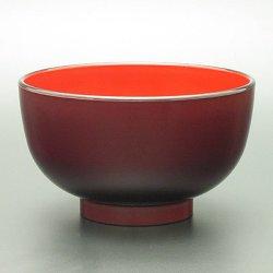 画像1: 【名入れ無料の漆器の通販】3.8寸 レンジでほっこり汁椀 溜塗り内朱